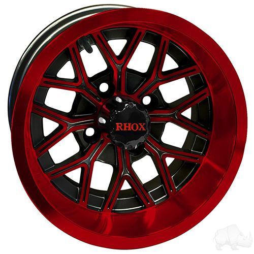 RHOX RX284, Machined Gloss Black, 12x6 ET-10 - Gloss Black with Red